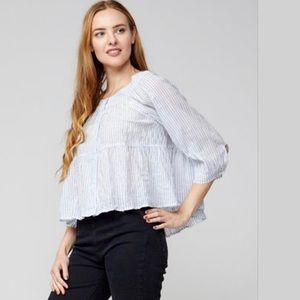 Free People Sea to Shore Blouse Top  Blue NWT
